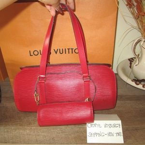 Red Epi Leather Soufflot Bag with Accessories Poc